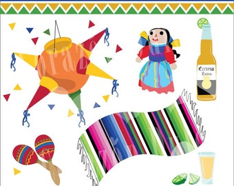 Fiesta Mexicana 2 Digital Clip Art Set - Personal and Commercial Use Clip Art: cute mexican doll, mexico, pinata, beer, cerveza, tequila