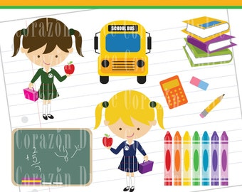 INSTANT DOWNLOAD Back to School 2 Clip Art Set - Personal and Commercial Use Clip Art