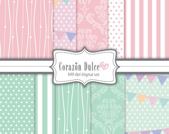 Digital Scrapbook paper Clip Art for Personal and Commercial Use/ Sweet pink and baby blue patterns