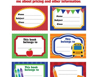 Back to School Labels- Printable school labels /tags, book labels, stickers, kids cards, labeling, etc.....