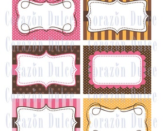 PINK & BROWN Cards/labels, tags, photo frame, recipe cards, gift tags, labeling, scrapbooking, etc.....