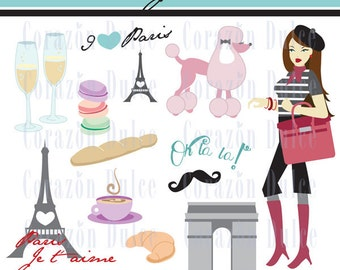 Paris Je t'aime clipart-Digital Clip Art Set - Personal and Commercial Use -NYC