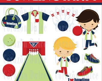 INSTANT DOWNLOAD  Bowling boy1- Personal and Commercial Use Clip Art:Originals design elements