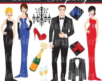 INSTANT DOWNLOAD Black tie party - Personal and Commercial Use Clip Art-