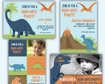 DINO INVITES/ Party digital printable invitation- Originals design elements