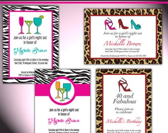 Girls Night out party Invite./ Party digital printable invitation - Originals design elements