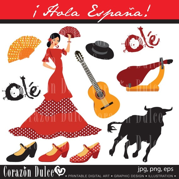 Spain 1 Digital Clip Art Set Personal And Commercial Use