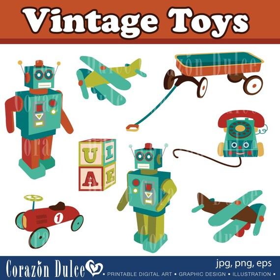 Vintage Toys Digital Clip Art Set - Personal and Commercial Use Clip Art: 8 originals design elements