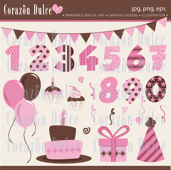 INSTANT DOWNLOAD  Happy Birthday girl - Personal and Commercial Use Clip Art