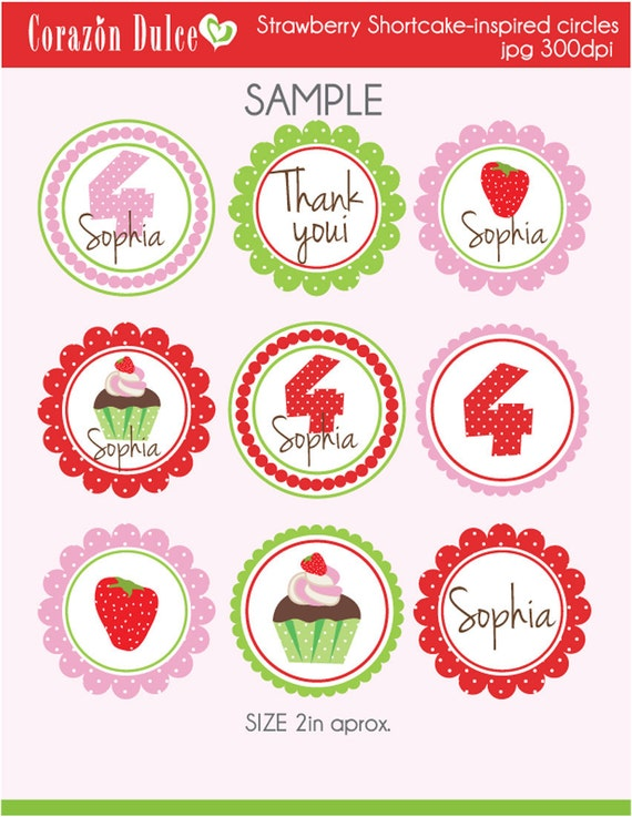 Custom Strawberry Shortcake-inspired Printable Cards/tags and toppers.