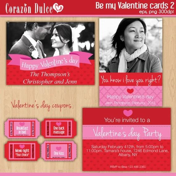 Be my Valentine CARDS Digital printable invitation-