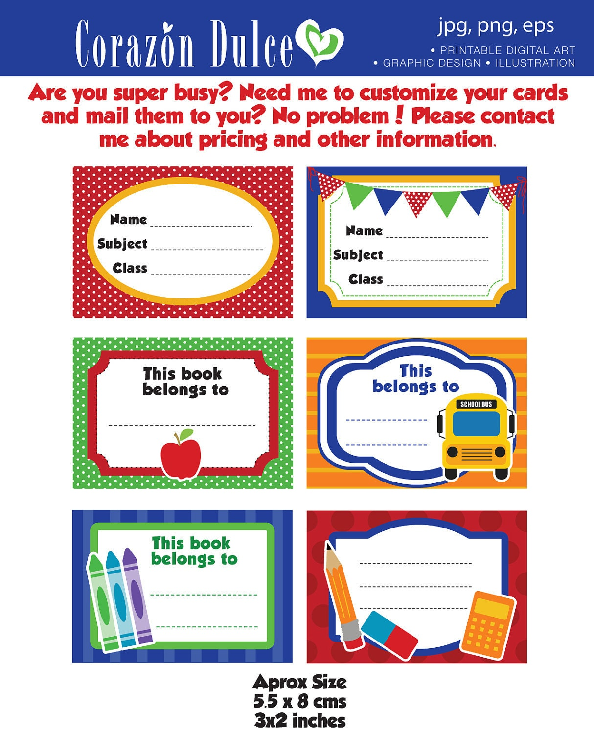 Printable Book Cover Labels : Back to school labels printable tags book