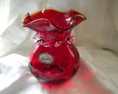 Huntington Handblown Red Glass Vase 1950's