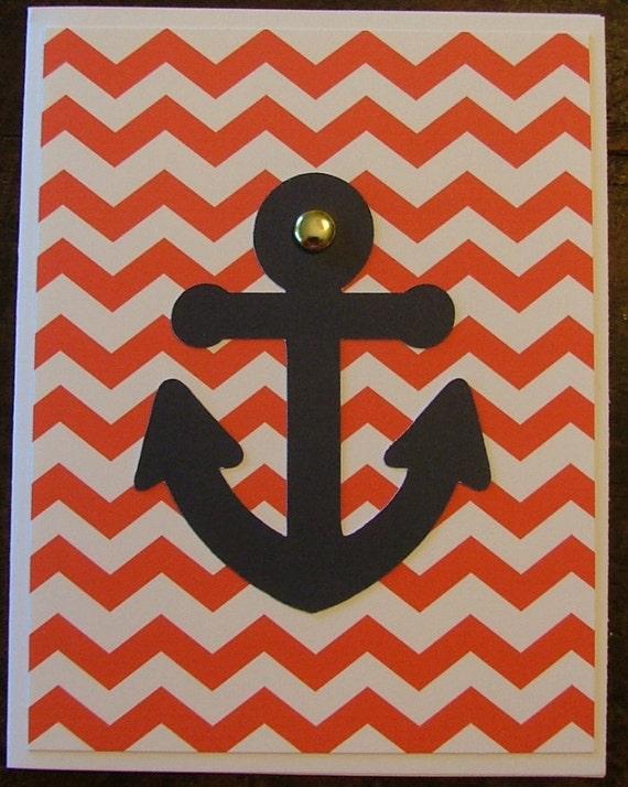 An Anchor Card using Chevron print