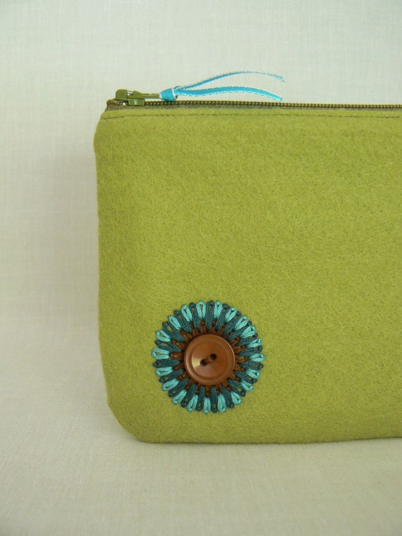 Chartreuse Green Turquoise Wool Felt Zipper Pouch Clutch by Rosebud Originals