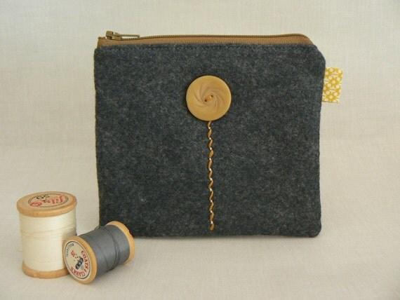 Charcoal Gray Caramel Yellow Wool Felt Zippered Pouch