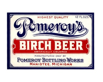 2 Pomeroy's Birch Beer Vintage Label