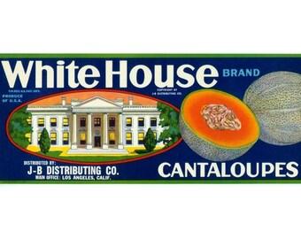 White House California Cantaloupes Crate Label