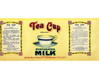 Tea Cup Evaporated Milk Vintage Label