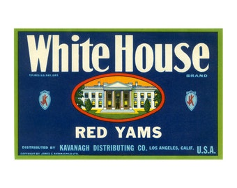 White House Red Yams California Crate Label