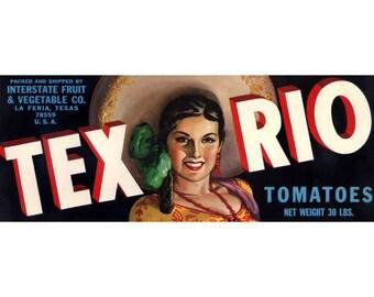 Tex Rio Texas Tomato Crate Label