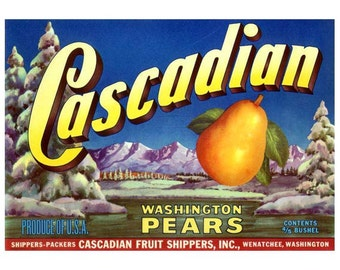 Cascadian Washington Pears Crate Label
