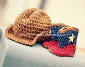Crochet Cowboy hat and boot set
