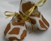 Giraffe print felt baby bootie 0-3 months