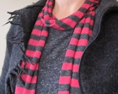 SCARF - skinny stripe jersey cotton - comfy & light, ALL SEASONS in Rock Star Red