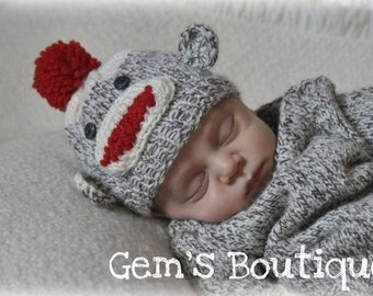 Newborn Knit Sock Monkey Hat Photography Prop