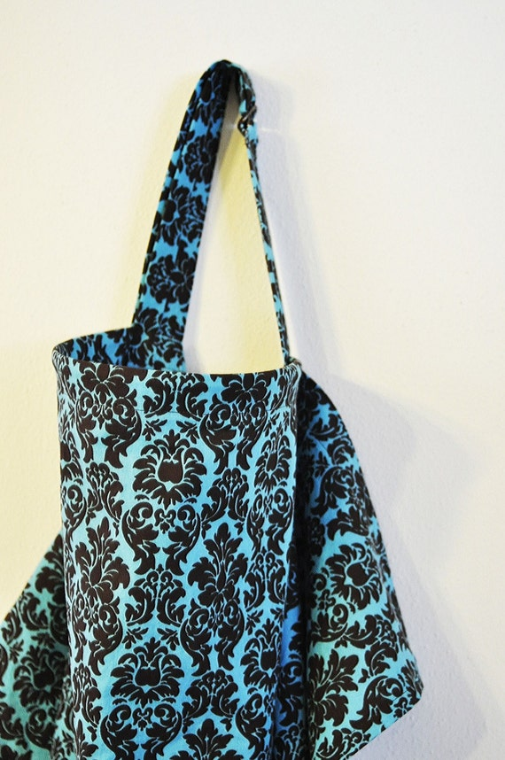 Boutique Turquoise Damask Cotton Baby Nursing Cover Trendy