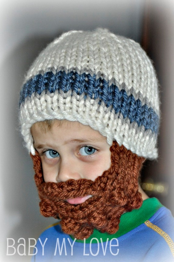 Lumberjack Childs Bearded Knit Hat Toddler Kid Winter Cap Custom Colors