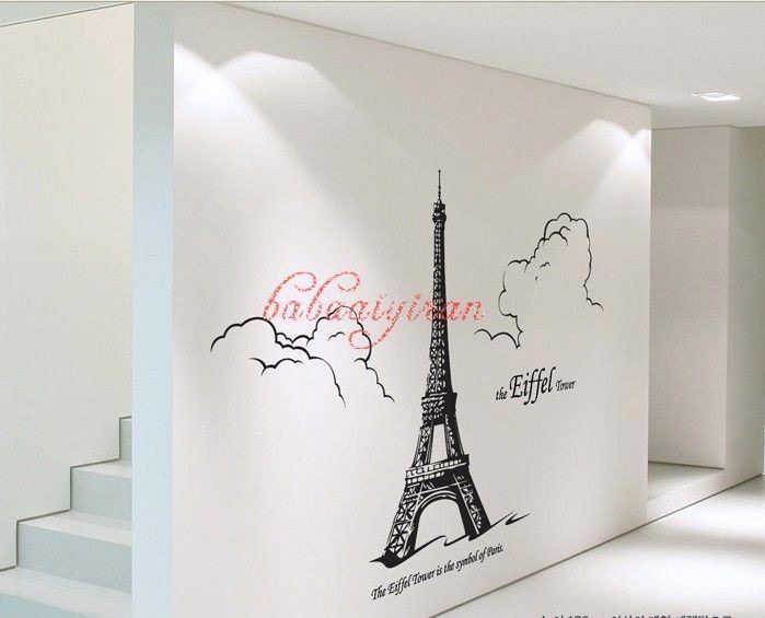 The eiffel tower removable home decor mural vinyl by for Eiffel tower mural