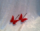 Mothers Day Felt Butterfly Wings Hair Clip Red and White Spring  Bobby Pins