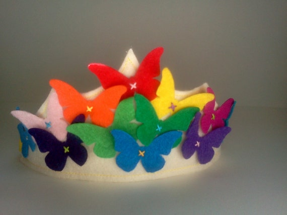Felt Crown Butterfly Rainbow Spring Queen Princess Birthday
