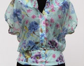 Womens Button Up Blouse in Lightweight Cotton Voile. Watercolor Flowers Print in Blue. White. Pink.