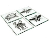 4 Hand printed and hand cut glass coasters with screen printed midge, lobster, crab and bee design.