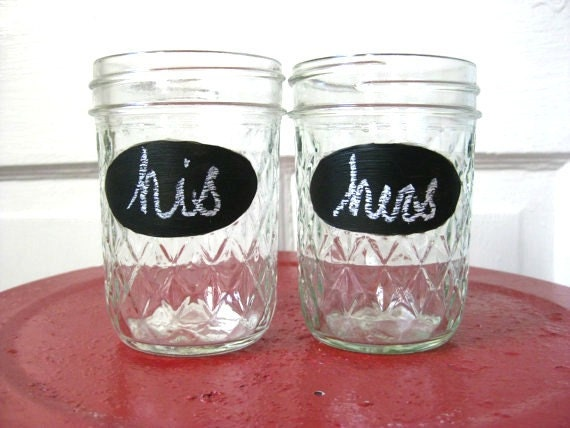 His & Hers Chalkboard Paint Juice Jars - matching set of 2, Valentines Day