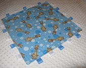 Cuddle  Blanket  Giraffe  Security Blanket    Lovey Lovie Flannel and Minky