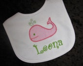 Personalized  Appliqued   Bib  Pink or Blue Seersucker Whale