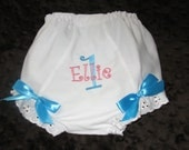 1st  or 2nd Birthday Bloomers Custom Personalized Diaper Covers    Select Colors