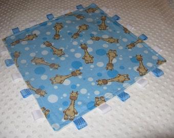 Cuddle  Blanket  Giraffe  Security Blanket    Lovey Lovie Flannel and Minky