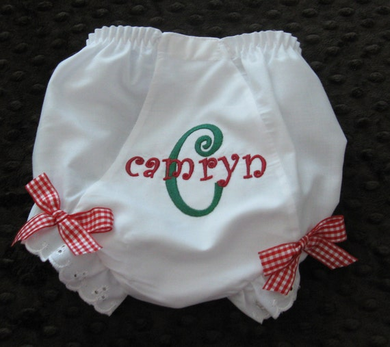 Personalized Monogrammed Christmas  Diaper Cover Baby Girl  Bloomers