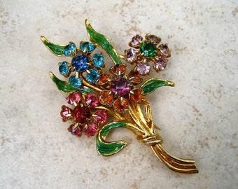 Vintage Coro Rhinestone Fur Clip Floral Bouquet Enamel