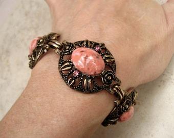 Vintage Coral Lucite Bracelet Pink Rhinestone Oval Panels