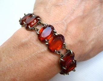 Vintage Art Deco Glass Bracelet Orange Faceted Oval Stones
