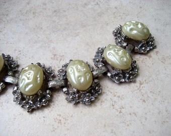 Vintage Chunky Bracelet Cream Lucite Cabochon Oval Silver Tone Floral Panels