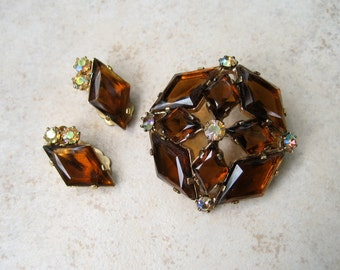 Vintage Rhinestone Brooch Earrings Set Topaz Lozenge