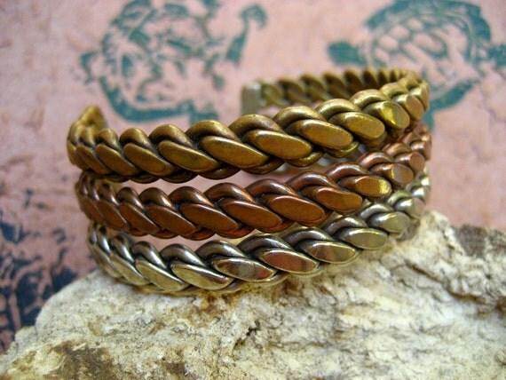 Vintage Wide Copper Bracelet Cuff Mixed Metal Twist