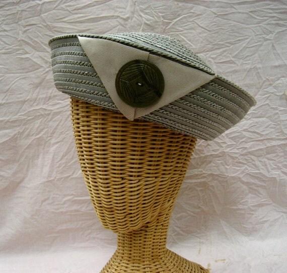 Vintage Ladies Straw Hat Gray Ribbon Sailor